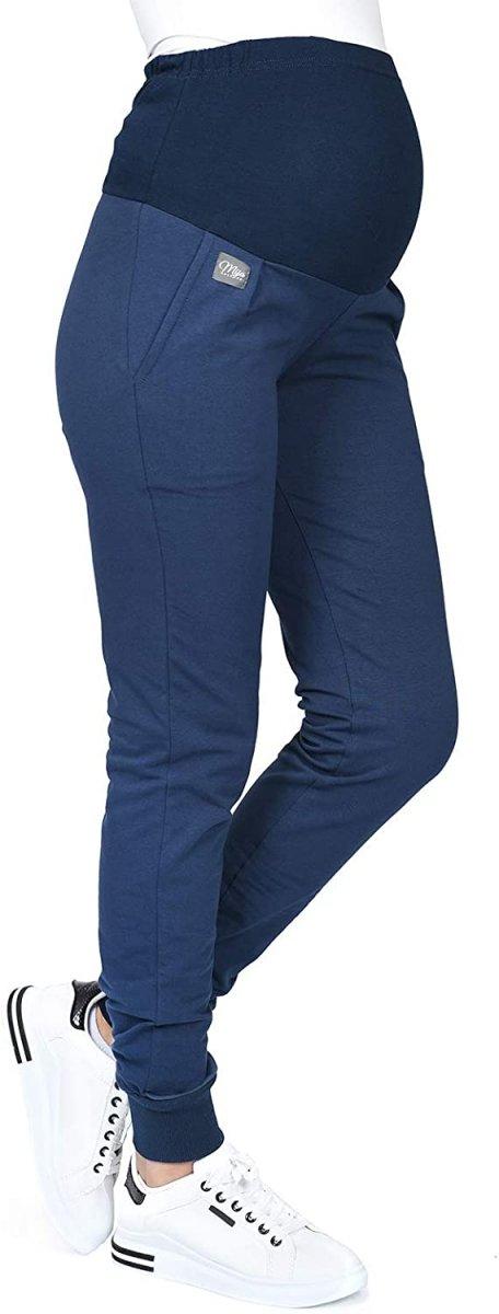 MijaCulture Wygodne spodnie dresowe ciążowe Coco M003 granat1
