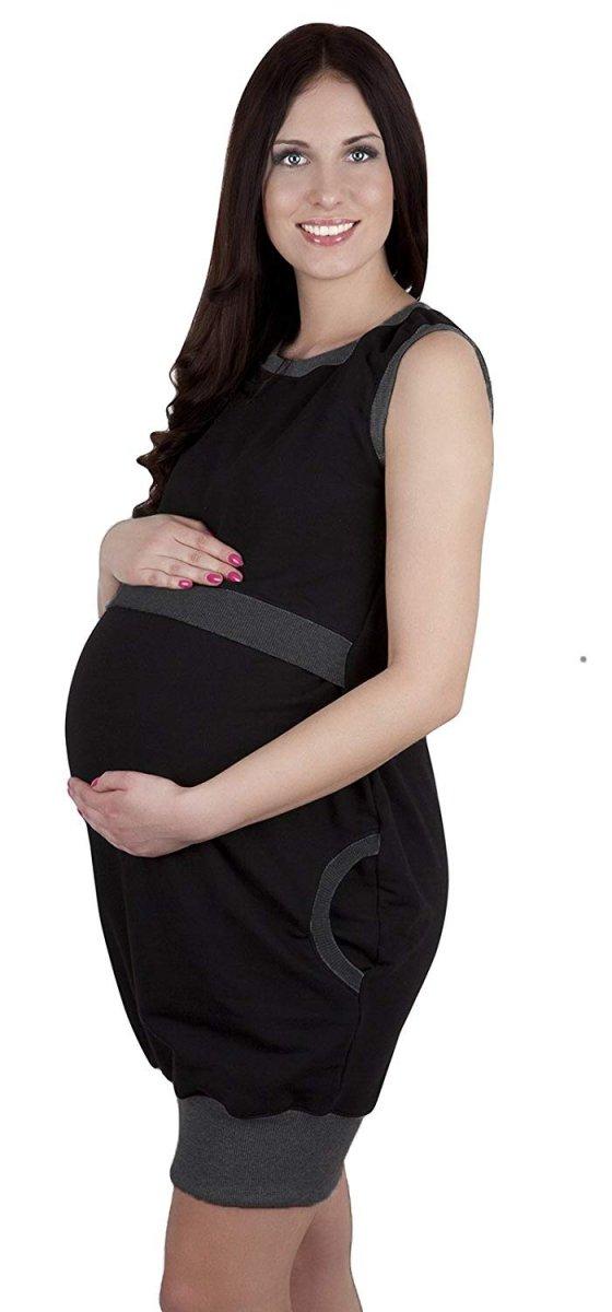 """MijaCulture - 2 w1 sukienka ciążowa i do karmienia """"Fiona"""" 7111 czarny/melanż 4"""