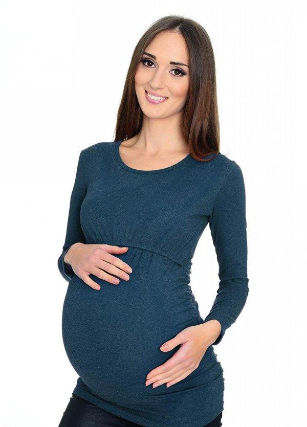 MijaCulture - bluzka 2 w 1 ciążowa i do karmienia długi rękaw M01/3070 niebieski 2