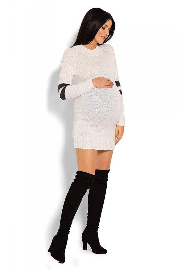 Wygodny sweter ciążowy z paskami na rękawach 70011/2010 kremowy 3