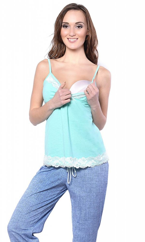 MijaCulture - 3 w 1 piżama ciążowa i do karmienia 4024/M41 turkus/niebieski 1