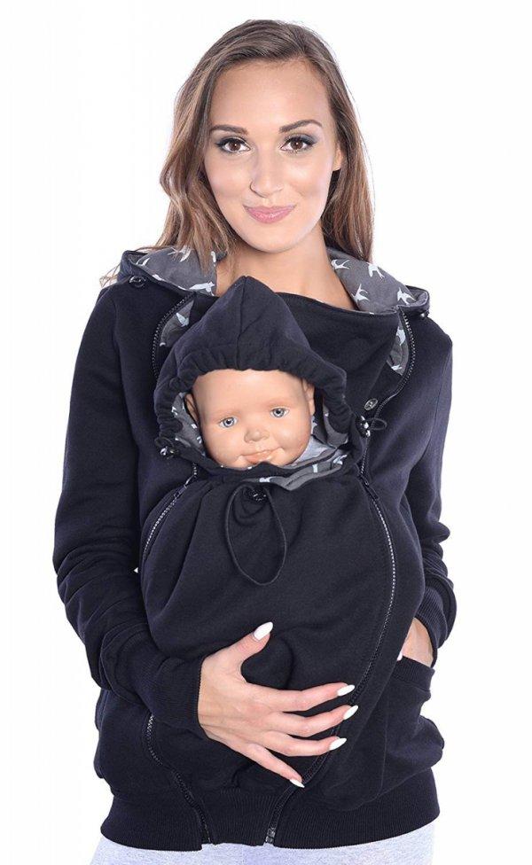 3 w1 bluza 3D ciążowa i do noszenia dziecka 4046/M50 czarny 5