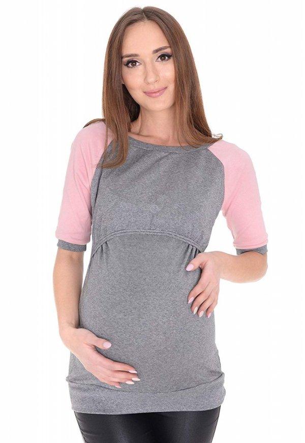 """3 w1 bluza ciążowa i do karmienia """"Suzi"""" 7141 szary/różowy 1"""