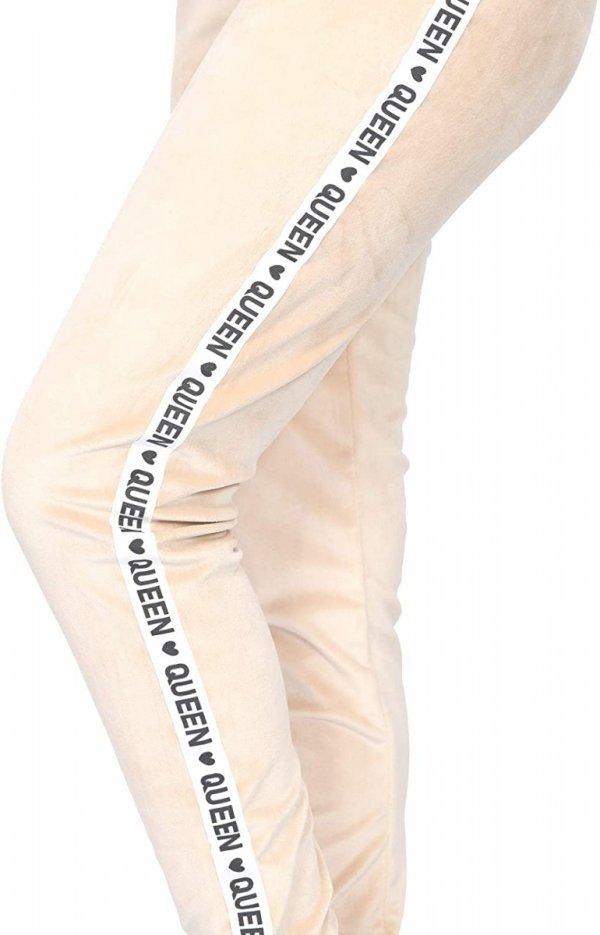 Wygodne spodnie ciązowe dresowe welurowe  9096 beż/queen5