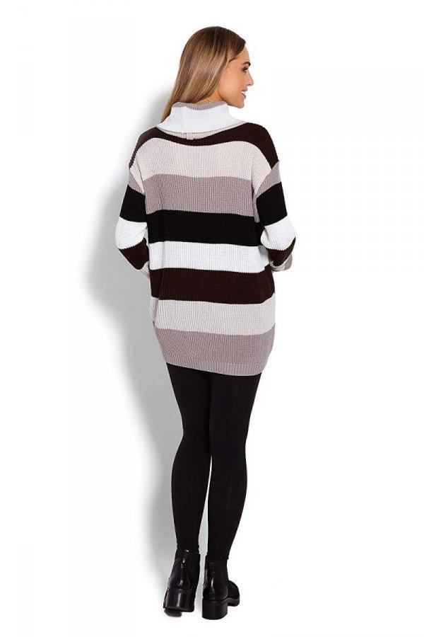 Wygodny sweter ciążowy w paski 70007/2012 brązowy 4