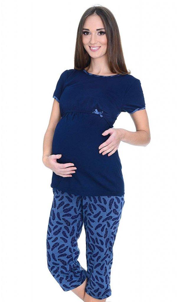 MijaCulture - piżama 3 w 1 ciążowa i do karmienia 4119/M69 granat/piórka 2