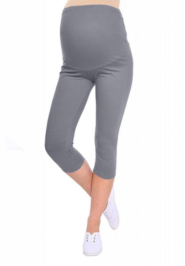 Komfortowe legginsy ciążowe 3/4 szare 7