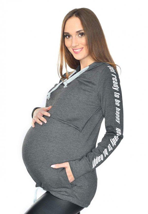 MijaCulture - 3 w 1 bluza ciążowa i do karmienia M68 4110 grafit Happy 1