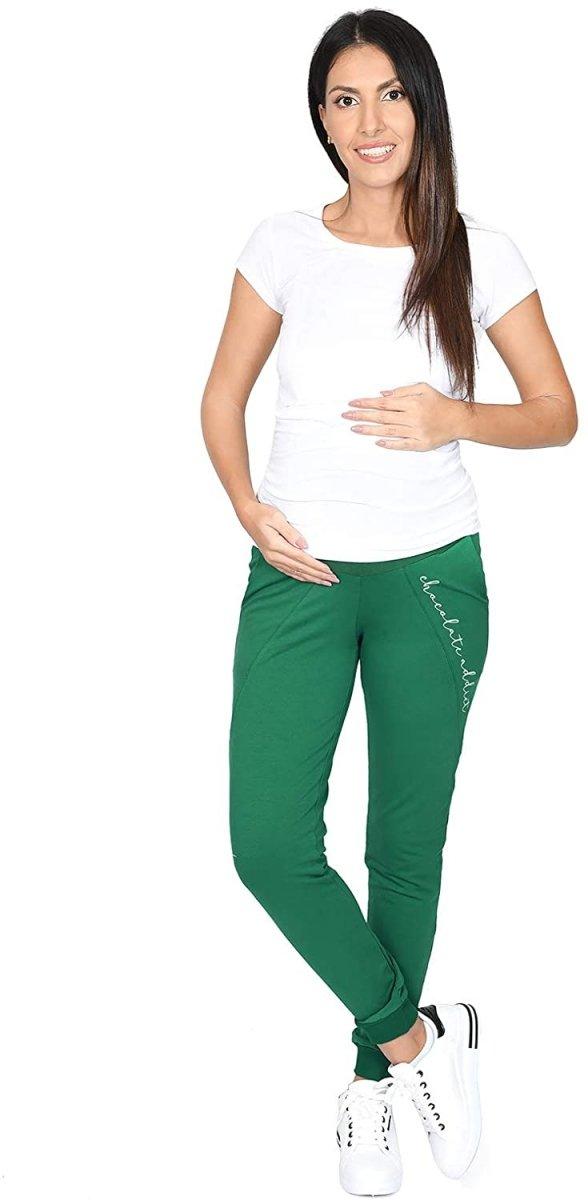 Wygodne ciążowe spodnie dresowe Chocolate Addict 9097 zielony5