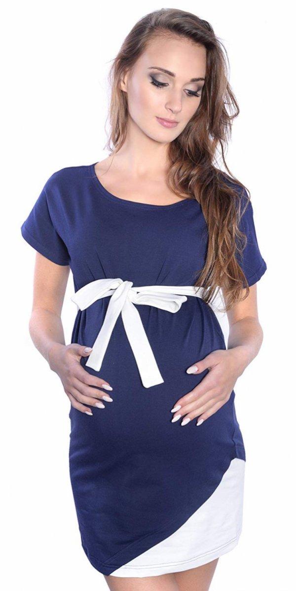 """Wyjątkowa sukienka ciążowa z ozdobnym paskiem """"Ines"""" 9072 ciemny granat 1"""