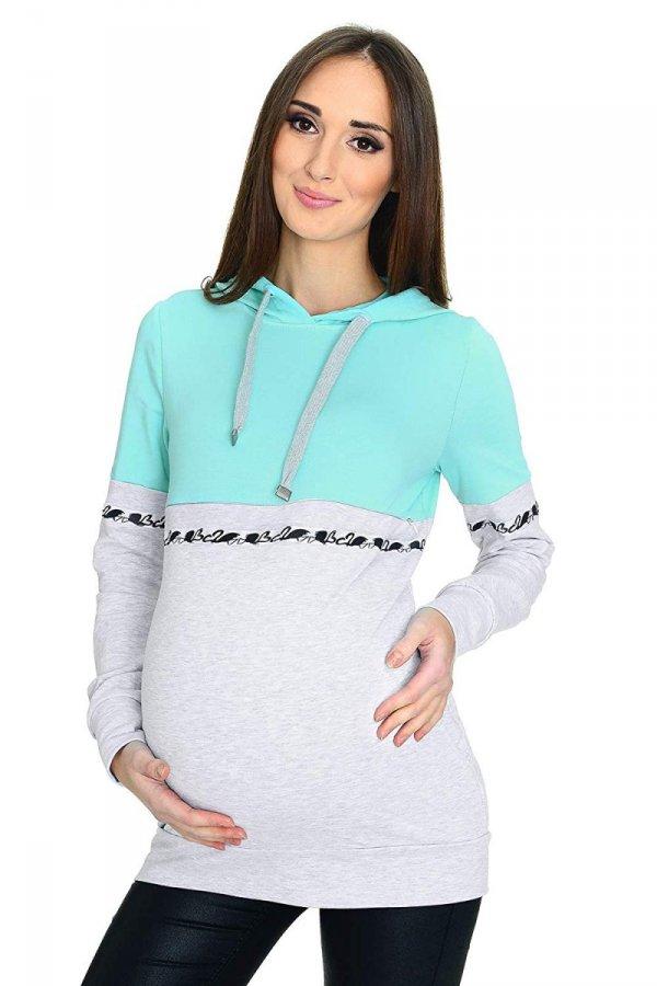 MijaCulture - 3 w 1 bluza ciążowa i do karmienia M72 4111 mięta/melanż 1 1