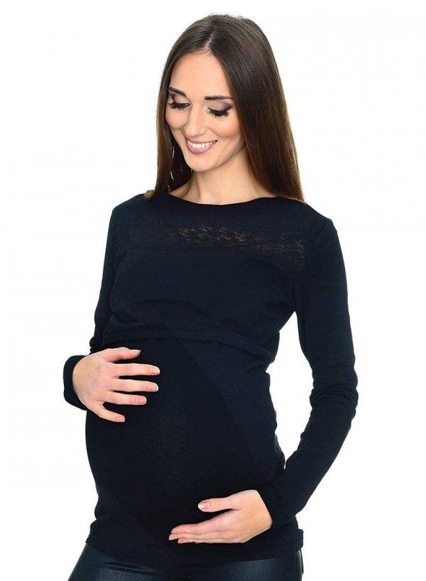 Zjawiskowa bluzka z koronka ciążowa i do karmienia 9089 czarna 1