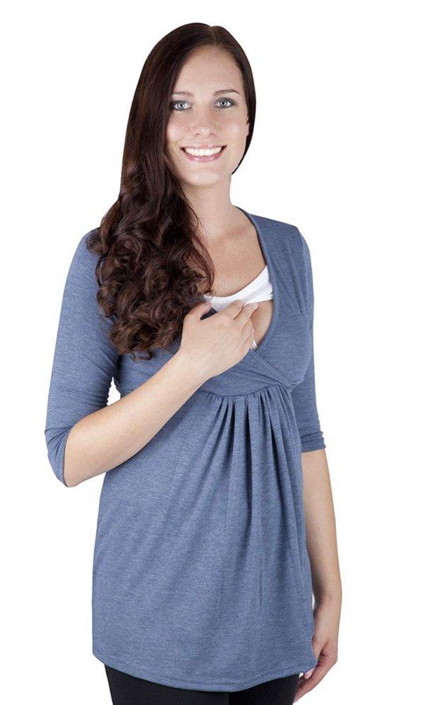 """MijaCulture - bluzka 2 w1 ciążowa i do karmienia długi rękaw """"Dora II"""" 7103 jeans 2"""