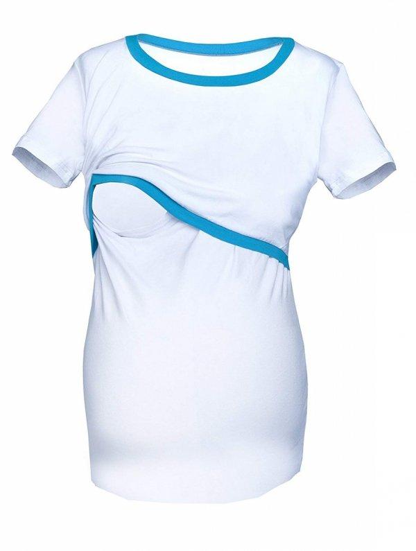 """Piękna bluzka 2 w 1 ciążowa i do karmienia """"Aldona"""" 9082 biały/turkus 1"""