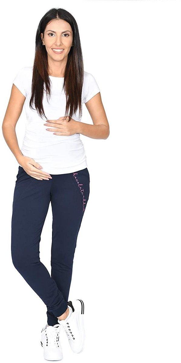 Wygodne ciążowe spodnie dresowe Chocolate Addict 9097 granat4