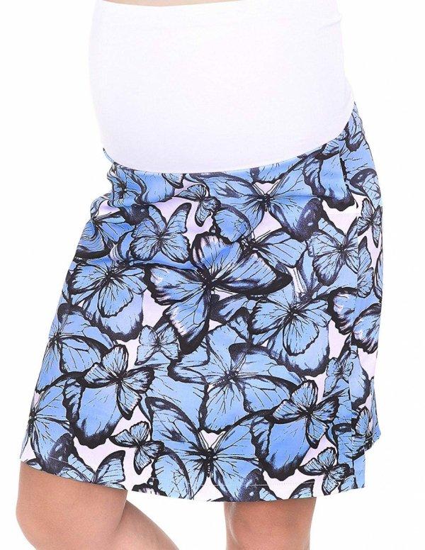 MijaCulture - spódnica ciążowa w kwiaty 1044/M64 niebieski 1
