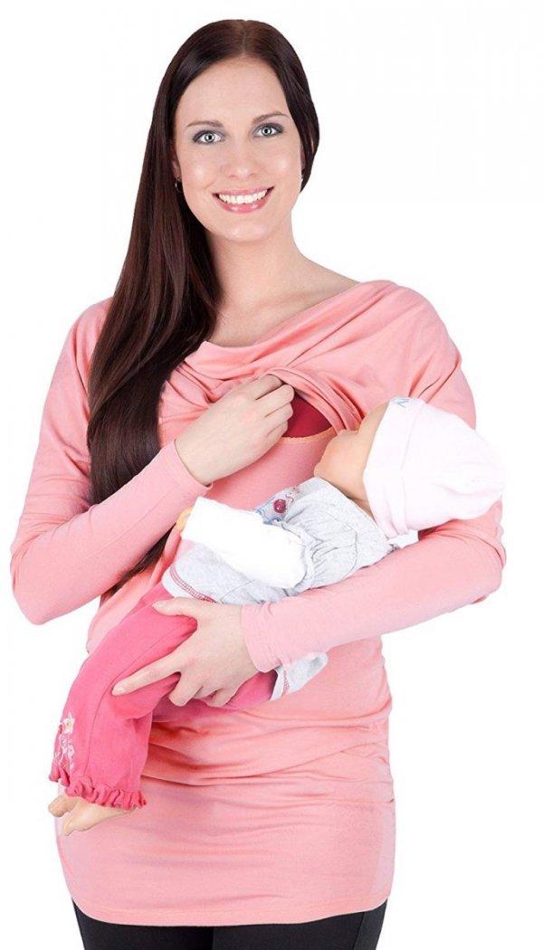"""MijaCulture - 2 w1 bluzka kimono ciążowa i do karmienia """"Sofia"""" 7113 różowy 1"""