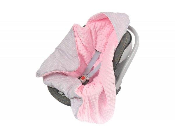 Kocyk z kapturkiem do fotelika Minky kropki/jasny róż