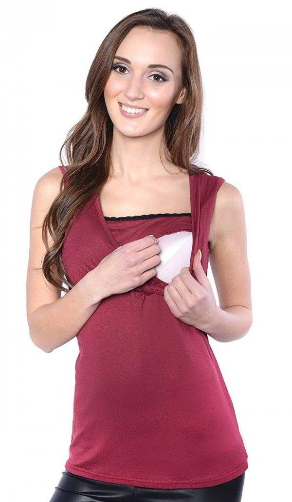 MijaCulture - top ciążowy i do karmienia z koronką 4032/M45 bordo 2