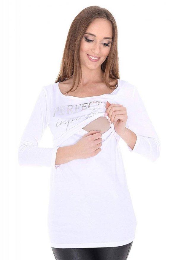 """Zjawiskowa bluzka 2 w 1 ciążowa i do karmienia """"Perfectly Imperfect"""" 3/4 rękaw 9084 biały 1"""