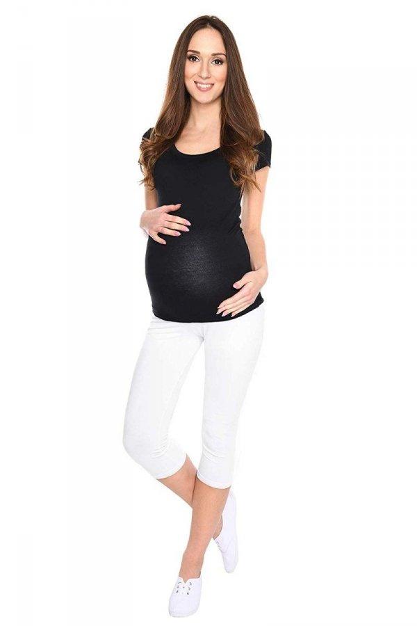 Komfortowe legginsy ciążowe 3/4 białe 4