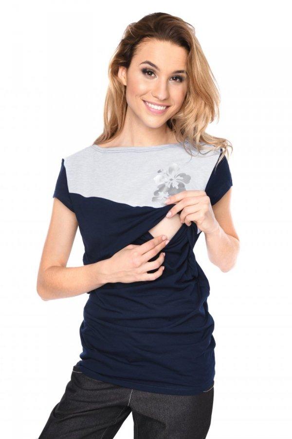 MijaCulture - urocza bluzka ciążowa i do karmienia Kwiaty 9093 granatowa 2