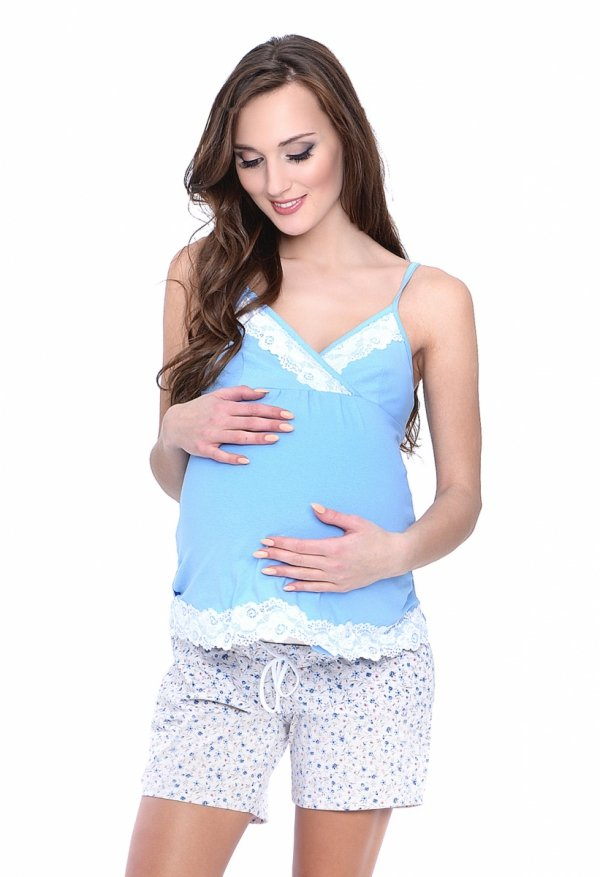 MijaCulture - 3 w 1 piżama ciążowa i do karmienia 4024/M41 niebieski