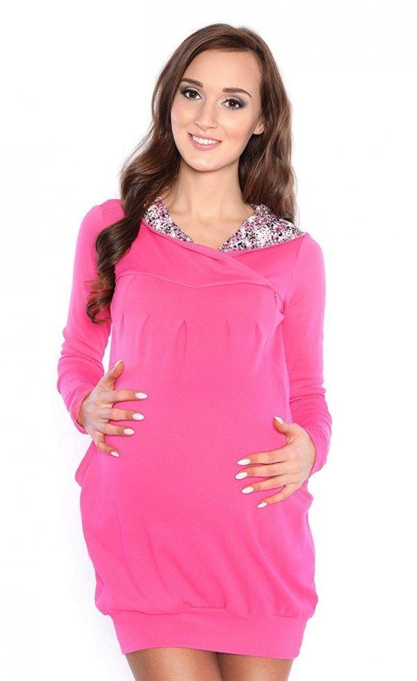 """bluza 3 w 1 ciążowa i do karmienia z kapturem """"Mimi"""" 7102A róż 1"""