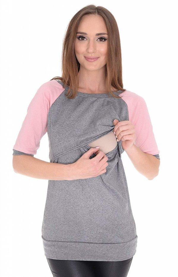 """3 w1 bluza ciążowa i do karmienia """"Suzi"""" 7141 szary/różowy 2"""