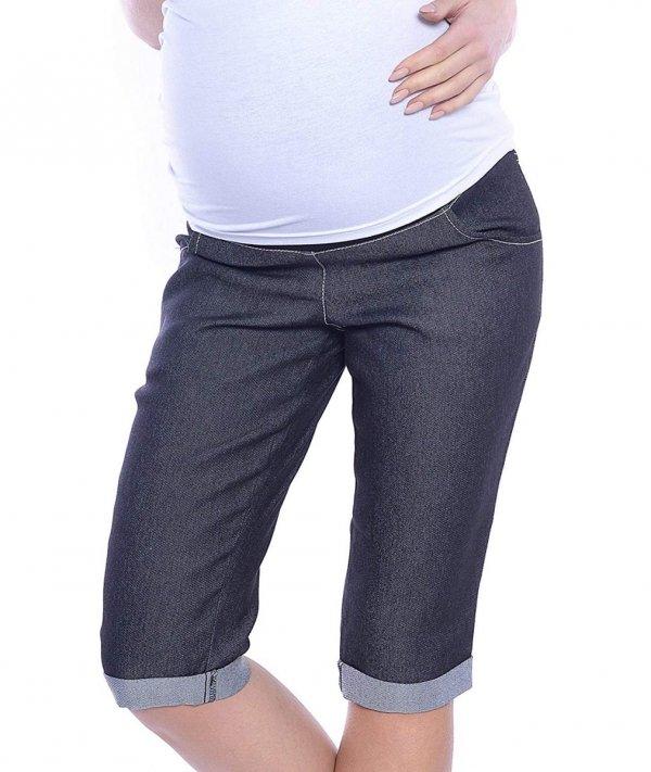 MijaCulture - spodnie rybaczki ciążowe 4015/ M35 denim czarny 1