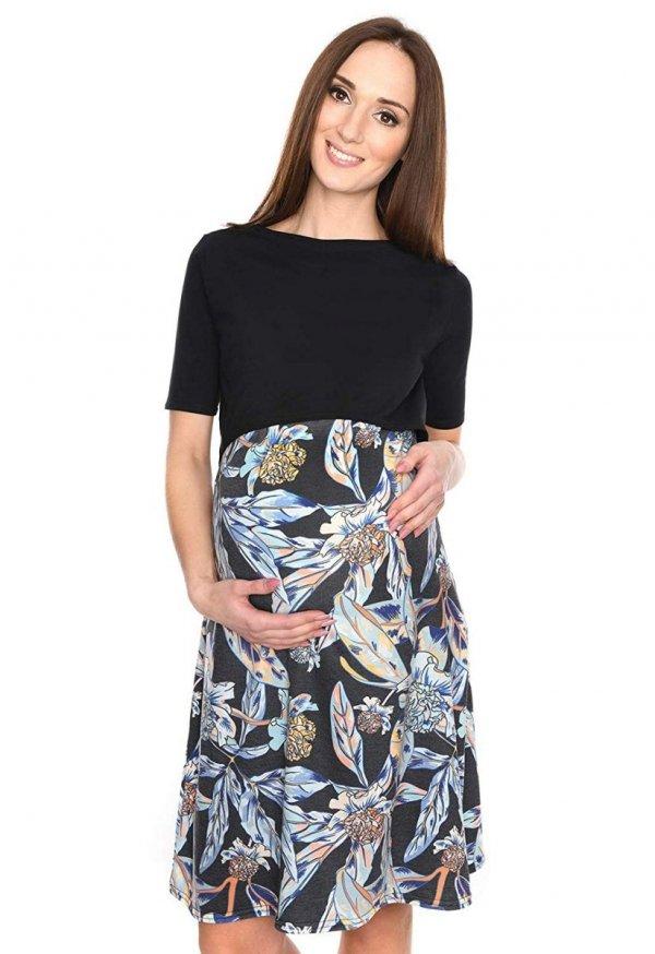 """Piękna sukienka 2 w 1 ciążowa i do karmienia """"Ali"""" czarny/kwiaty 2"""