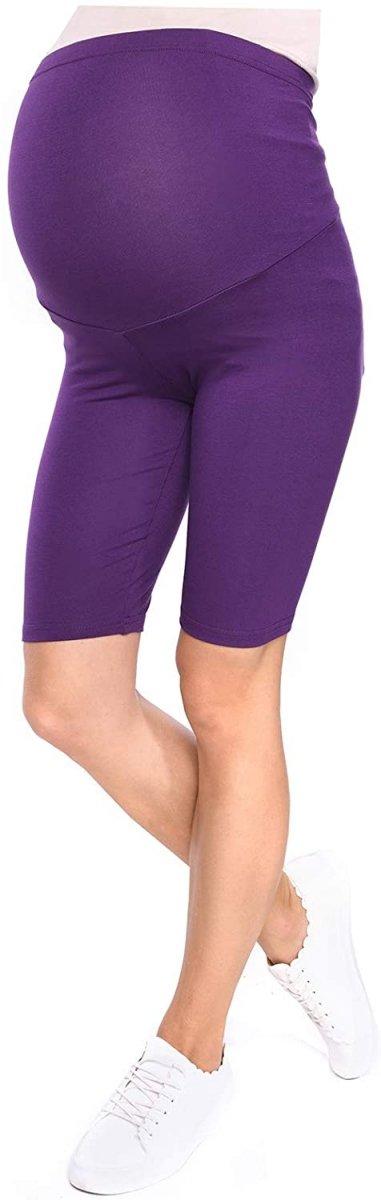 Wygodne krótkie legginsy ciążowe Mama 1052/2 komplet czarny/fiolet2