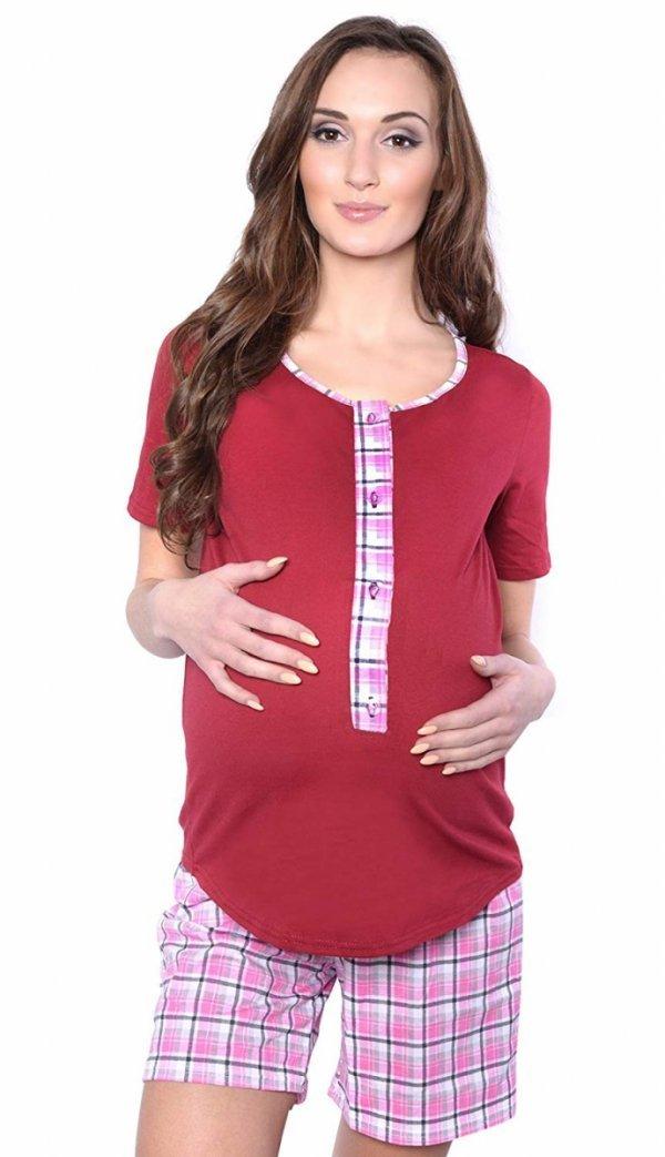 3 w 1 piżama ciążowa i do karmienia 4030/M47 bordo/róż 1