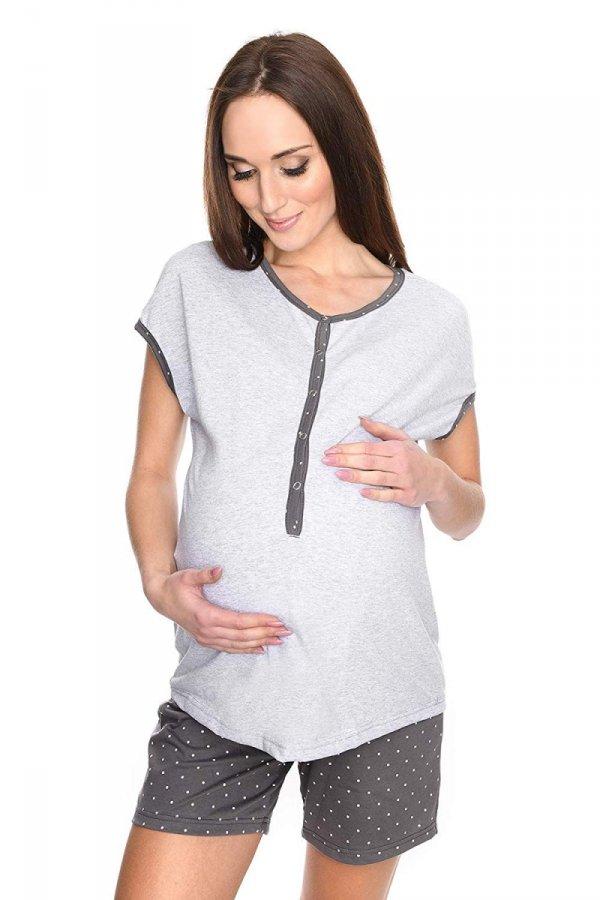 MijaCulture - 3 w 1 piżama ciążowa i do karmienia M79 melanż/szary 1