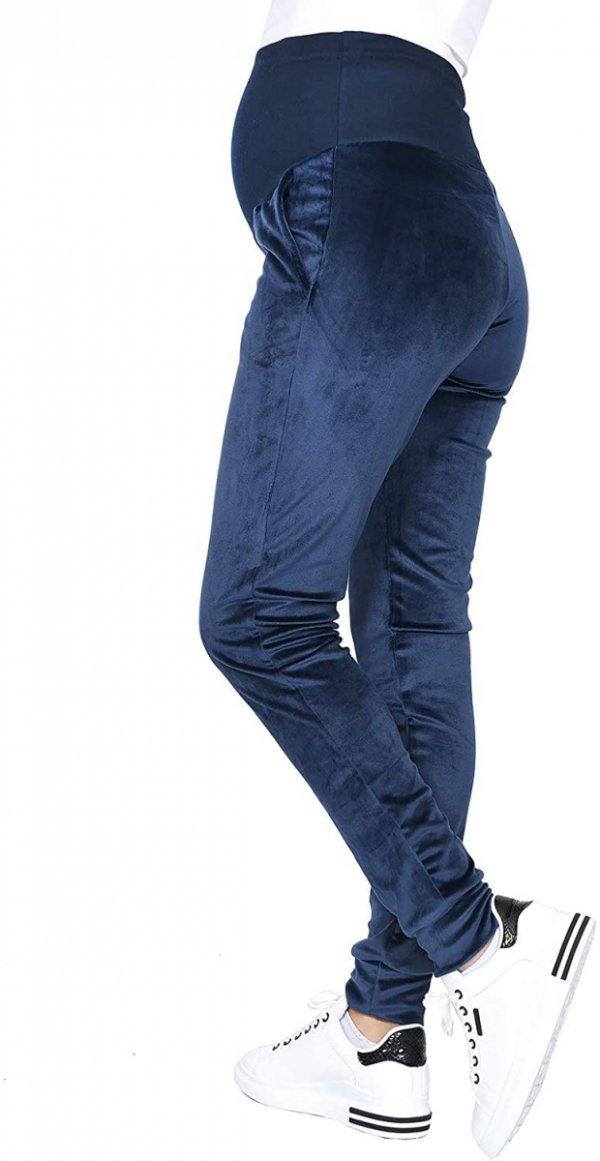 Wygodne spodnie ciązowe dresowe welurowe  9096 granat1