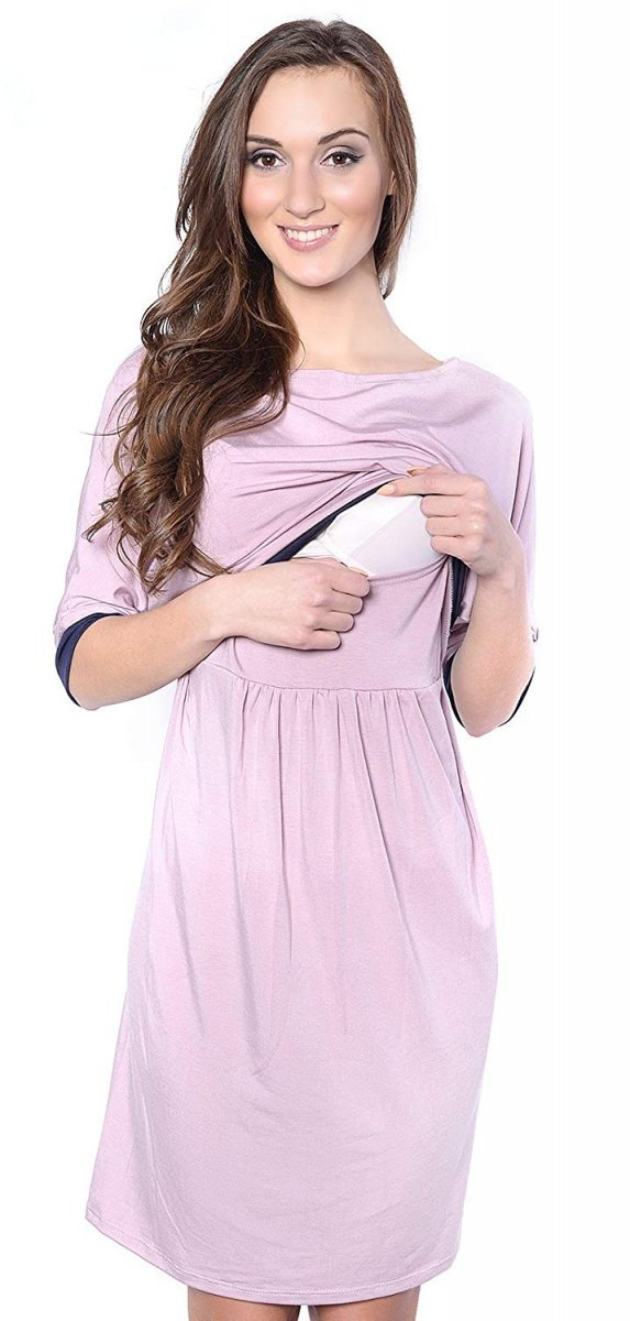 Piękna sukienka 2 w 1 ciążowa i do karmienia Daisy 7131 różowa 1