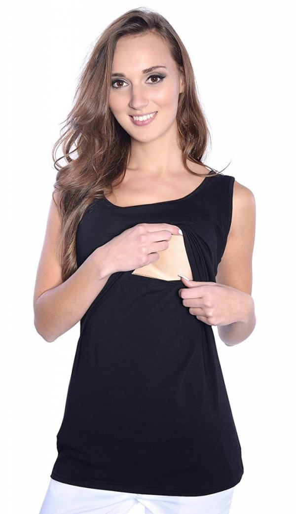 MijaCulture - top 2 w1 ciążowy i do karmienia 1109 czarny 1