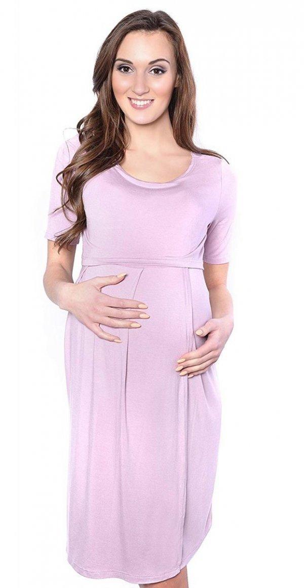 """Zjawiskowa sukienka 2 w 1 ciążowa i do karmienia """"Lora"""" różowa 2"""