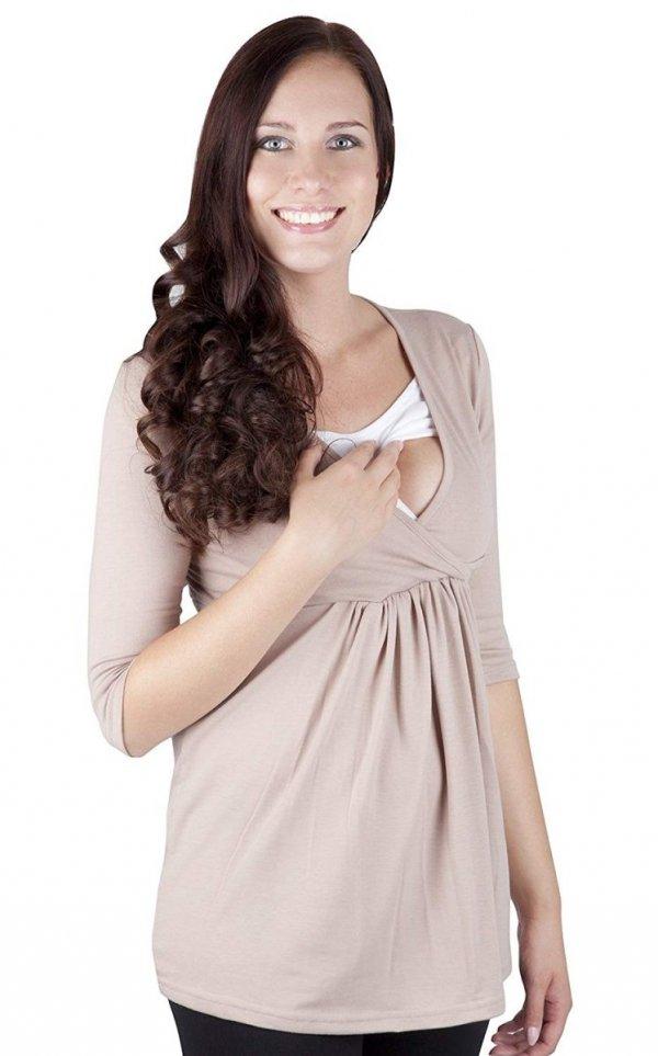 """MijaCulture - bluzka 2 w1 ciążowa i do karmienia długi rękaw """"Dora II"""" 7103 beż 1"""
