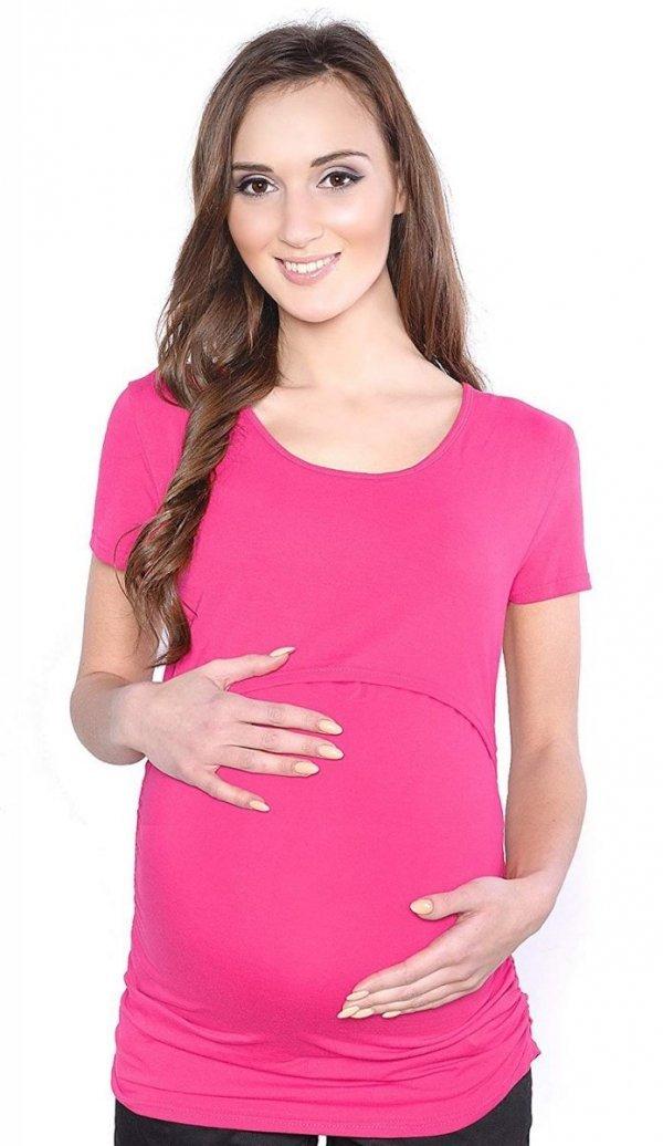 MijaCulture - bluzka 2 w1 ciążowa i do karmienia krótki rękaw 1102 amarant 2