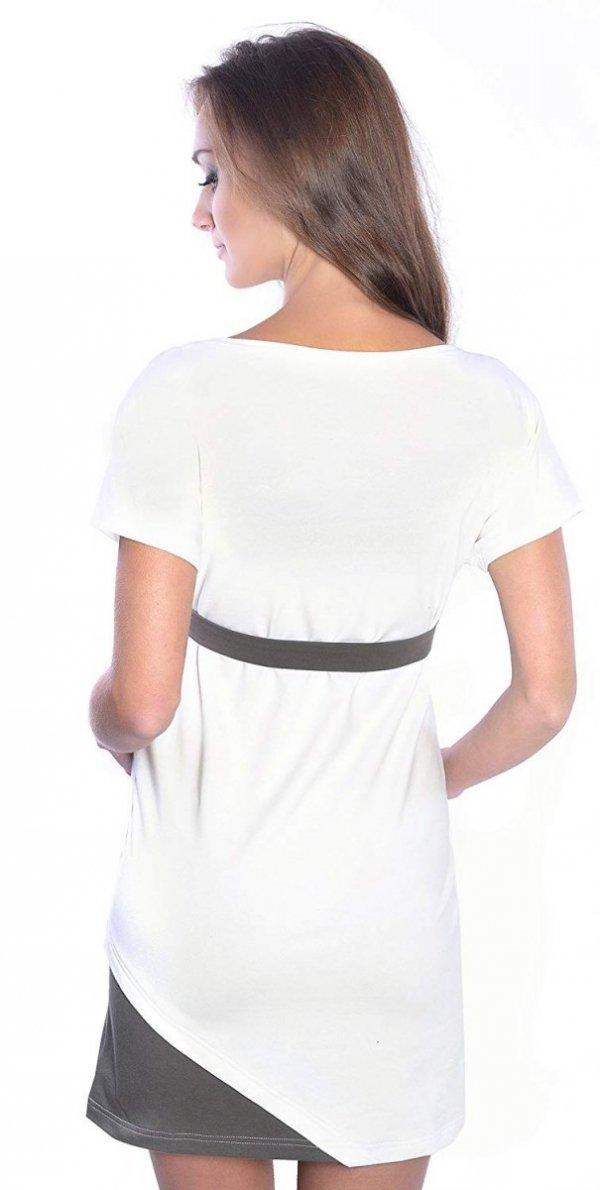 """Wyjątkowa sukienka ciążowa z ozdobnym paskiem """"Ines"""" 9072 ecru 2"""
