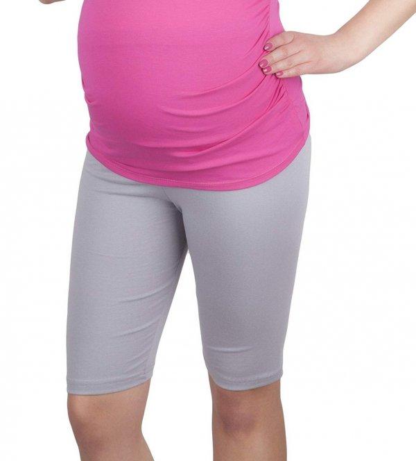 MijaCulture - wygodne krótkie legginsy ciążowe 4008/M25 szary 1