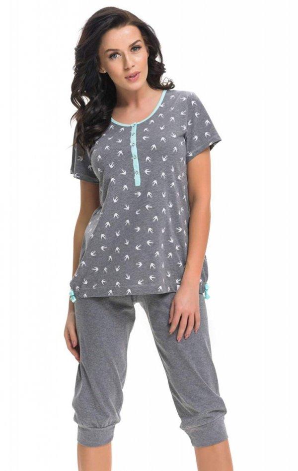 Wygodna piżama 2 w 1 ciążowa i do karmienia 5075 szary/niebieski 3/4
