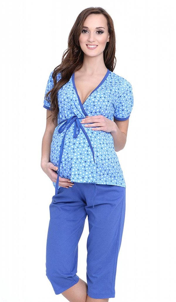 Urocza piżama 2 w 1 ciążowa i do karmienia 5001/645 niebieski 1