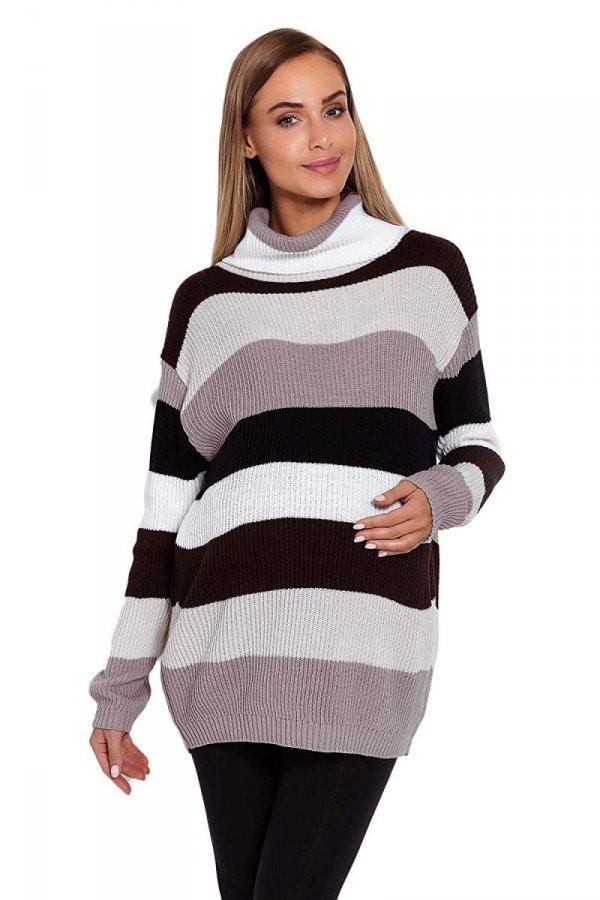 Wygodny sweter ciążowy w paski 70007/2012 brązowy 1