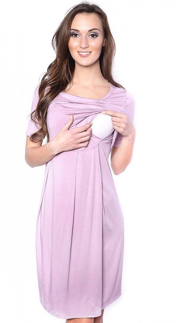 """Zjawiskowa sukienka 2 w 1 ciążowa i do karmienia """"Lora"""" różowa 1"""
