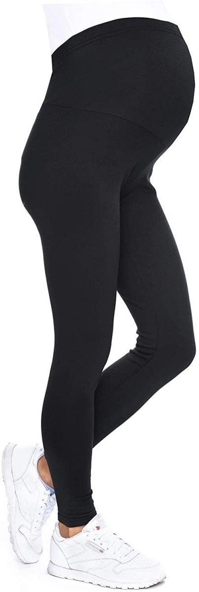 MijaCulture - Komfortowe legginsy ciążowe zimowe 1034 czarne2