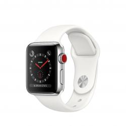 Apple Watch Series 3 / GPS + LTE / Koperta 38mm ze stali nierdzewnej w kolorze srebrnym / Pasek sportowy w kolorze białym - pcozone