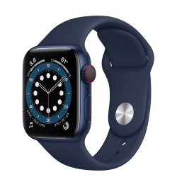 Apple Watch Series 6 40mm GPS + LTE (cellular) Aluminium w kolorze niebieskim z paskiem sportowym w kolorze głębokiego granatu