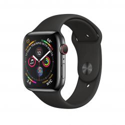 Apple Watch Series 4 / GPS + LTE / Koperta 44mm ze stali nierdzewnej w kolorze gwiezdnej czerni / Pasek sportowy w kolorze czarnym